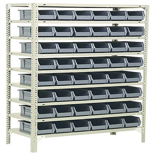Bolt Kit 1800x900x400mm 9-Shelves 48 Bins Grey 383654