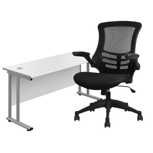 Home Office Bundle - Rectangular Office Desk White with Silver Double Cantilever Legs W1200mm &Executive High Back Mesh OP Office Chair Black