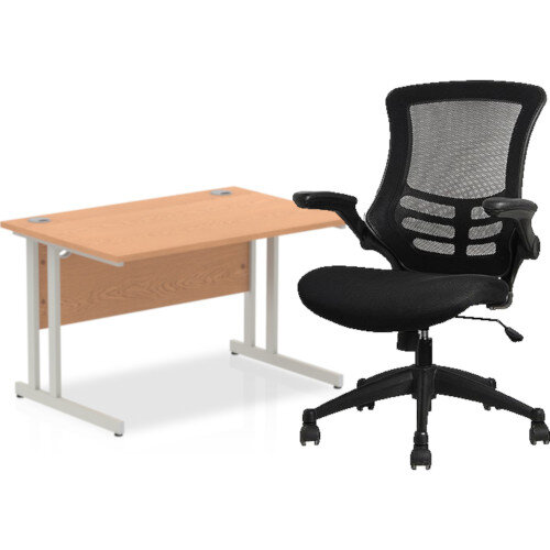 Home Office Bundle - Rectangular Office Desk Oak with Silver Double Cantilever Legs W1200mm &Executive High Back Mesh OP Office Chair Black