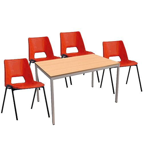 4 x Stacking Red Chairs &1 Rectangular Beech Table Canteen Bundle
