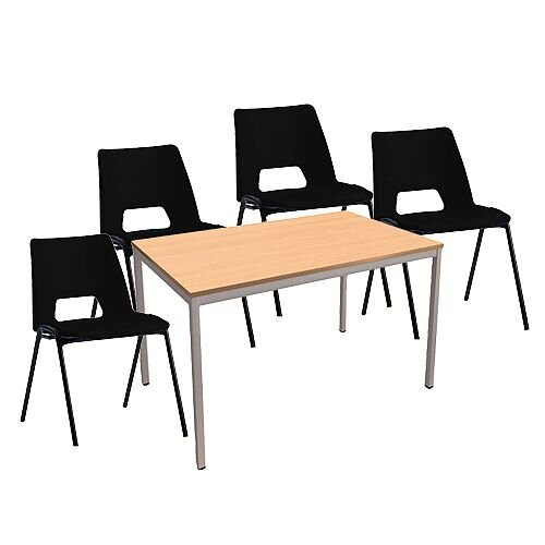 4 x Stacking Black Chairs &1 Rectangular Beech Table Canteen Bundle