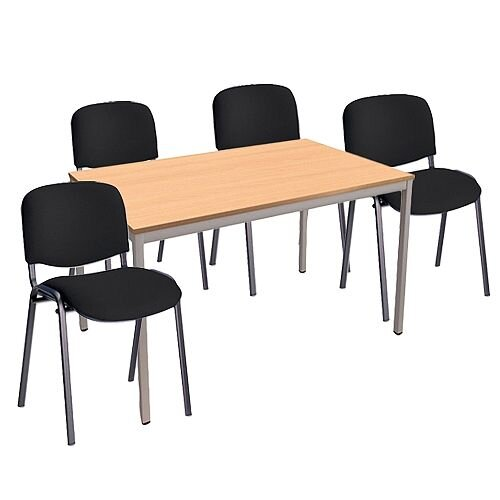 4 X Black Upholstered Stacking Chairs &1 Rectangular Beech Table Canteen Bundle