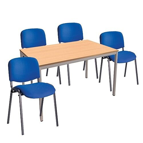 4 X Blue Upholstered Stacking Chairs &1 Rectangular Beech Table Canteen Bundle