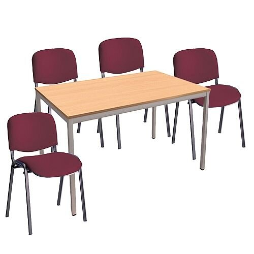 4 X Burgundy Upholstered Stacking Chairs &1 Rectangular Beech Table Canteen Bundle