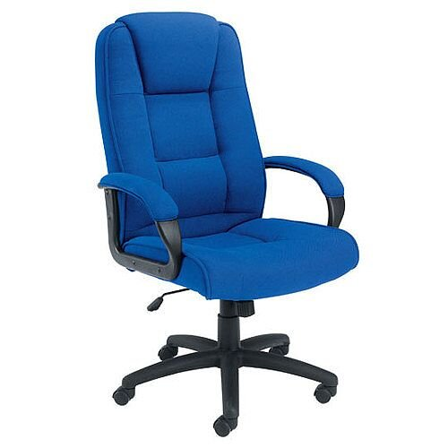 Keno High Back Fabric Upholstered Executive Office Armchair With Padded Armrests Blue