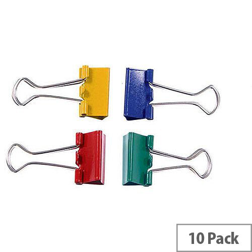 Clipper Foldback Clip 32mm Assorted Pack of 10 23091