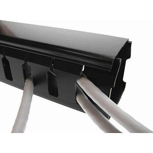 Cat5e/Cat6 friendly 107 x 104mm Slotted Trunking 2m lgth - Black 8mm slots