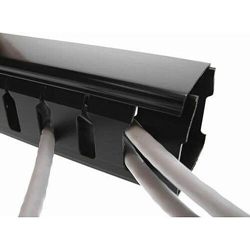 Cat5e/Cat6 friendly 107 x 54mm Slotted Trunking 2m lgth - Black 8mm slots