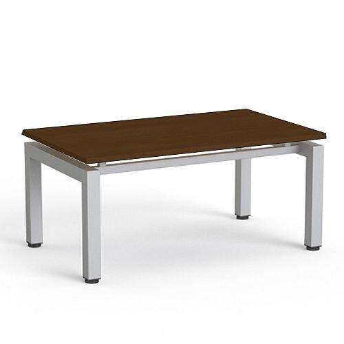 Rectangular Reception Coffee Table Dark Walnut Top &Silver Frame W1000xD600xH460