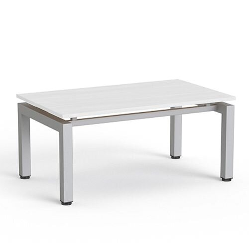 Rectangular Reception Coffee Table White Top &Silver Frame W1000xD600xH460
