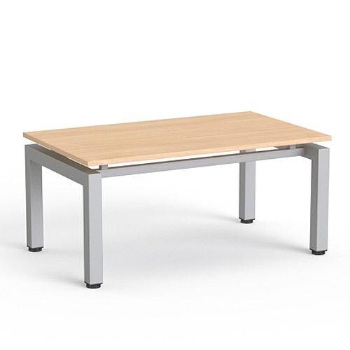 Rectangular Reception Coffee Table Beech Top & Silver