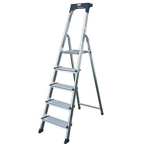 Extra Deep Tread Aluminium Steps Platform 5-Tread Height 1.05m Silver 360996