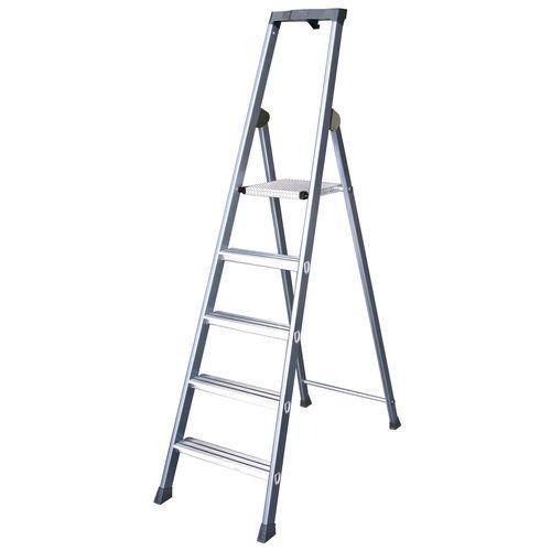 Extra Deep Tread Aluminium Steps Platform 7-Tread Height 1.50m Silver 360998