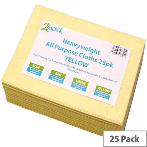 2Work Heavyweight Cleaning Cloths Yellow Pack of 25 CCYV50ARL