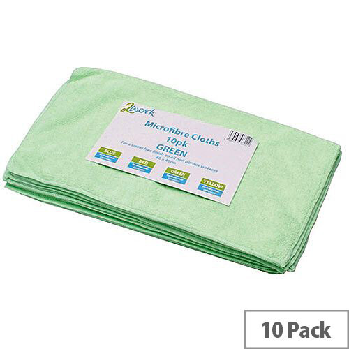 2Work Green 400 x 400mm Microfibre Cleanig Cloths (10 Pack) 101161GN