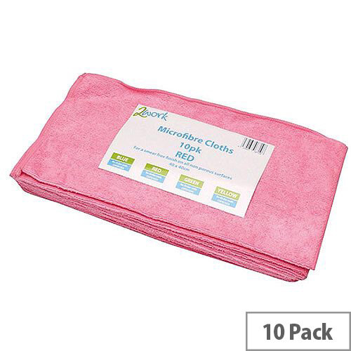 2Work Red 400 x 400mm Microfibre Cleaning Cloths (10 Pack) 101161RD