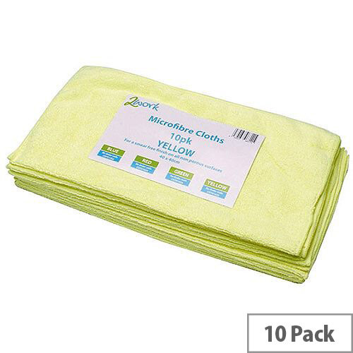 2Work Yellow 400 x 400mm Microfibre Cleaning Cloths (10 Pack) 101161BU