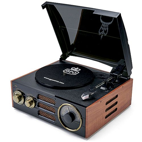 GPO Empire Wooden Turntable with built in Radio and Speakers