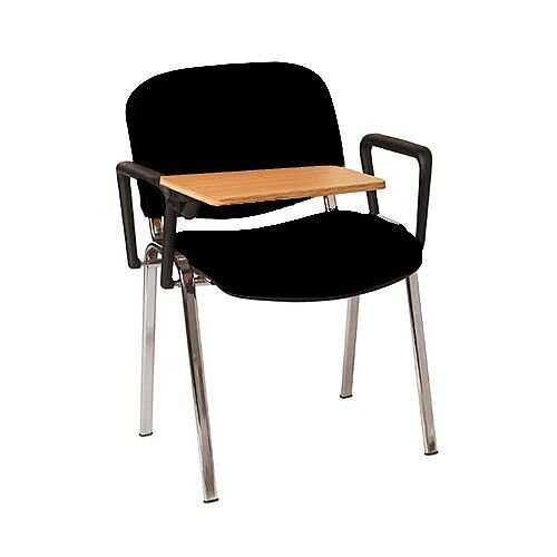 Multi-Purpose Armchair with Writing Tablet Black with Silver Legs
