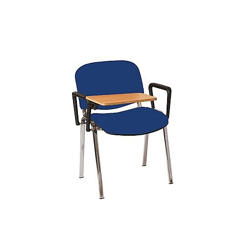Multi-Purpose Armchair with Writing Tablet Blue with Silver Legs