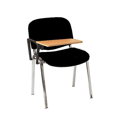 Multi-Purpose Side Chair with Writing Tablet Black with Chrome Legs