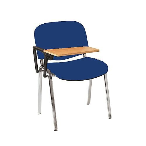 Multi-Purpose Side Chair with Writing Tablet Blue with Chrome Legs