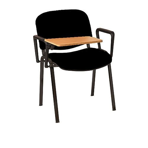 Multi-Purpose Armchair with Writing Tablet Black with Black Legs