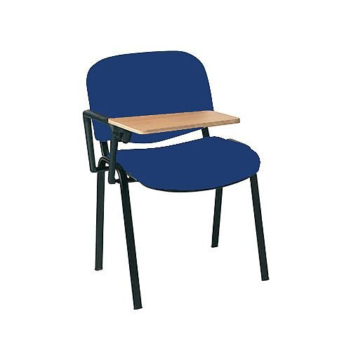 Multi-Purpose Side Chair with Writing Tablet Blue with Black Legs