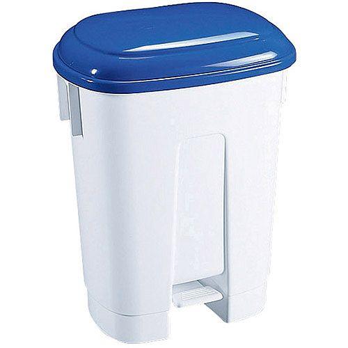 Derby Plastic Pedal Waste Bin 30 Litre White/Blue 348022