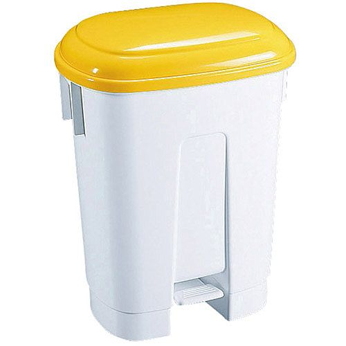 Derby Plastic Waste Pedal Bin 30 Litre White/Yellow 348023