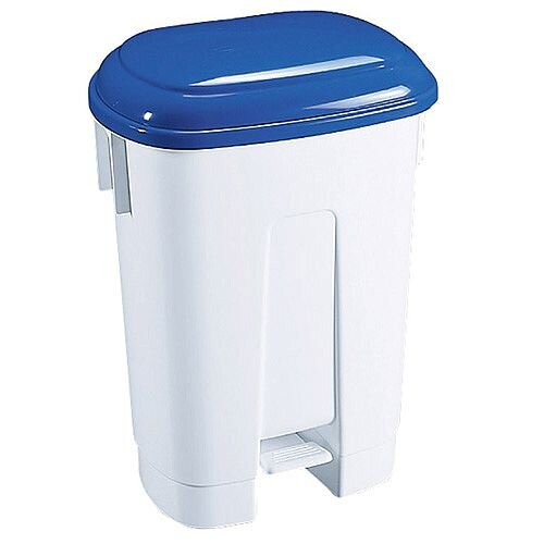 Derby Plastic Pedal Waste Bin 60 Litre White/Blue 348013