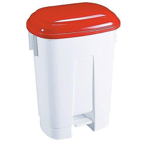 Derby Plastic Pedal Waste Bin 60 Litre White/Red 348012