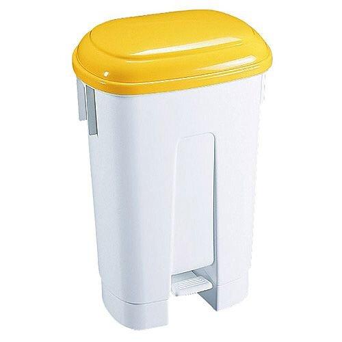 Derby Plastic Pedal Waste Bin 60 Litre White/Yellow 348014