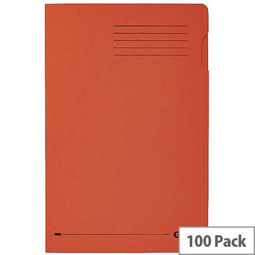 Elba Foolscap Square Cut Folder Recycled Mediumweight 285gsm Manilla Orange Pack 100 Ref 100090220