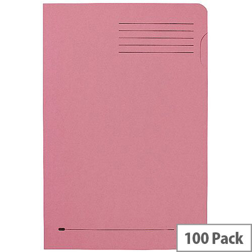 Elba Foolscap Square Cut Folder Recycled Mediumweigh 285gsm Manilla Pink Pack 100 Ref 100090221