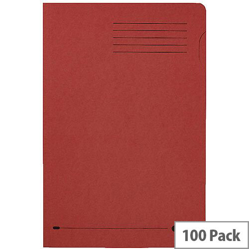 Elba Foolscap Square Cut Folder Recycled Mediumweight 285gsm Manilla Red Pack 100 Ref 100090222