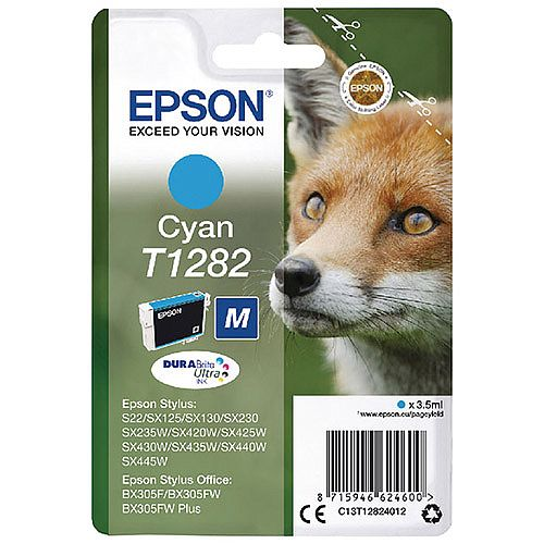 Epson (T1282) Cyan Ink Cartridge Fox Series C13T12824012