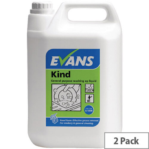 Evans Kind General Purpose Washing Up Liquid 5 Litre 2 Pack