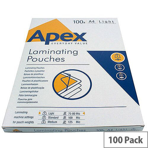 Fellowes Apex Laminating Pouch A4 Light Duty Clear Pack of 100