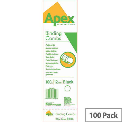 Fellowes Apex Plastic Comb Black 12mm Pack of 100