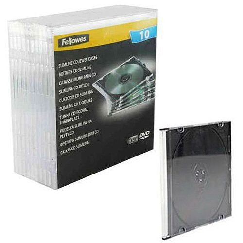 Fellowes Slimline CD Jewel Case Pack of 10 Clear 9833801