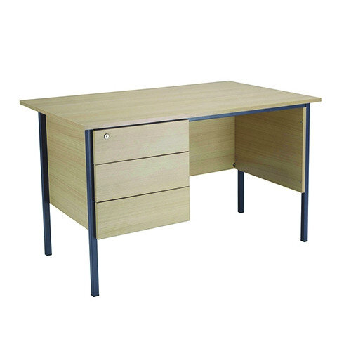Jemini Intro W1200mm 4 Leg Office Desk With 3 Drawer Fixed Pedestal Warm Maple KF838535