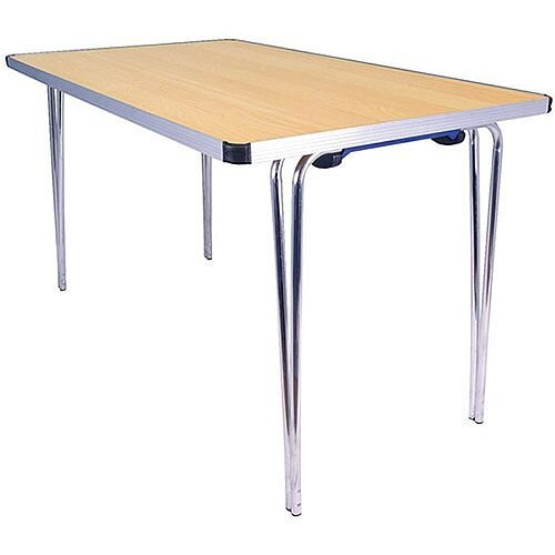 Lightweight Aluminium Folding Leg Table Rectangular Beech W1220xD685xH698mm Jemini KF74027