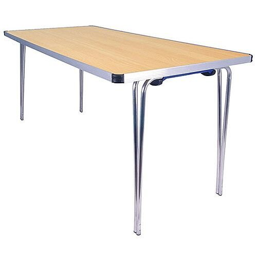 Lightweight Aluminium Folding Leg Table Rectangular Beech W1520xD685xH698mm Jemini KF74028