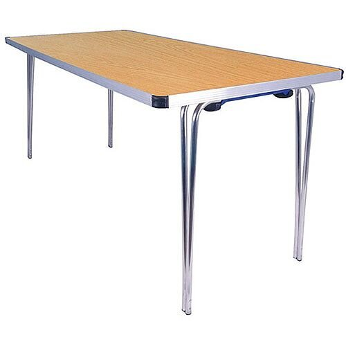 Lightweight Aluminium Folding Leg Table Rectangular Oak W1520xD685xH698mm Jemini KF74025