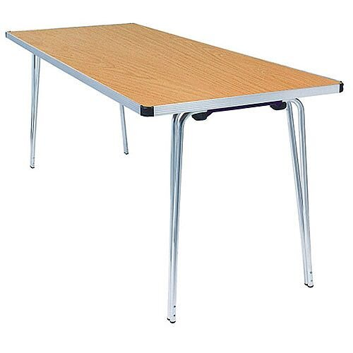 Lightweight Aluminium Folding Leg Table Rectangular Oak W1830xD685xH698mm Jemini KF74024