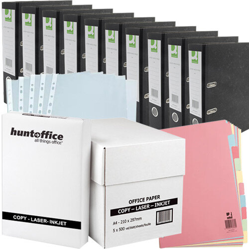 Filing Home Office Bundle - A4 Paper Pk 5 &A4 Lever Arch File Pk 10 &A4 10-Part Subject Divider &A4 Punched Pockets Pk 100