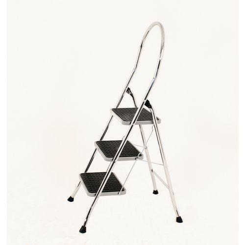 Folding Step Stool Aluminium 3 Tread High Back Chrome Silver Height 0.48m 321679