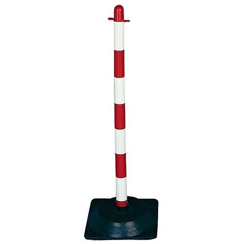 Freestanding Post Square Rubber Base Red/White 328332