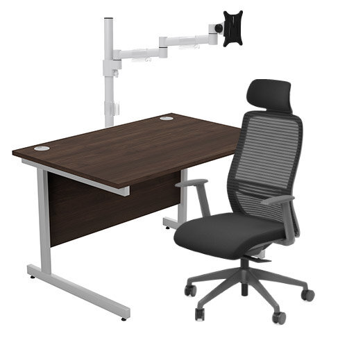 Home Office Bundle - Ashford Straight Office Desk Dark Walnut W1200mm With NV Posture Chair Black &Leap White Single Monitor Arms